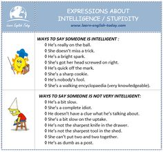 Expressions about Intelligence / Stupidity