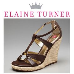 Elaine Turner Kylie Straw Wedge Gold Accent 8