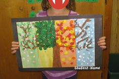 Four-Season Tree-send to second grade teachers Seasons Lessons, Four Seasons Art, Seasons Activities, Preschool Art Activities, Grade 1 Art, Grade 2, Christmas Art For Kids, Weather Art, Space Artwork