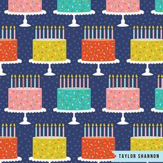 This birthday cake pattern looks good enough to eat! By Pattern Camper and Surface Pattern Designer Taylor Shannon.
