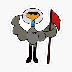 Male Bird Cartoon Character Astronaut Space Program Sticker