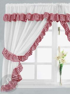 Red Kitchen Curtains Stylishly Lovely Beautiful 20 Hottest Curtain Designs for 2019 White Kitchen Curtains, Kitchen Curtains And Valances, Gingham Curtains, Curtains Uk, Country Curtains, Curtain Valances, Gingham Quilt, Gingham Fabric, Kitchen Curtain Designs