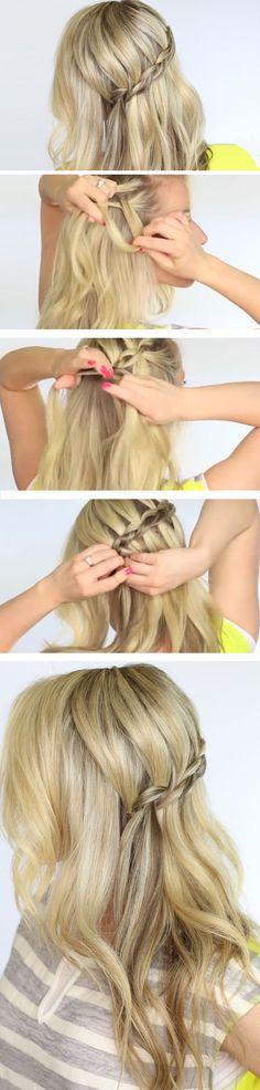 Dutch Waterfall Braid | DIY Wedding Hairstyles for Medium Hair | Easy Bridesmaids Hairstyles for Long Hair