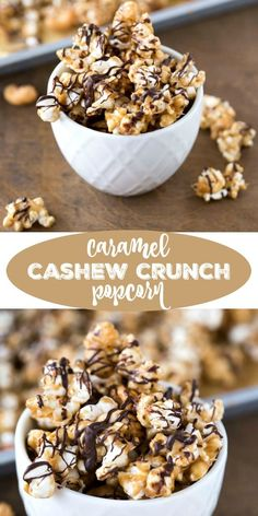 Snack time! --> Caramel Cashew Crunch Popcorn Recipe