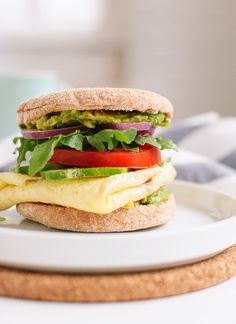 The best veggie breakfast sandwich you'll ever have. Feel free to change up the toppings or just skip a few. Who says egg sandwiches are just for breakfast? Egg Recipes, Brunch Recipes, Cooking Recipes, Vegetarian Breakfast, Vegetarian Recipes, Healthy Recipes, Breakfast Healthy, Health Breakfast, Breakfast Sandwich Recipes
