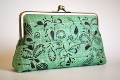Green paisley peacock hemp clutch purse  via Etsy.