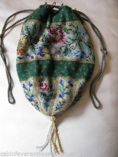 Antique Victorian Green Floral Crochet Micro Bead Drawstring Reticule Purse | eBay