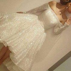 Charming Long Sleeve Shinning Straight Neck Beautiful Junior Homecoming Dress, WG703