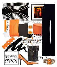 """All Black w/ a Splash of Orange"" by mdfletch ❤ liked on Polyvore featuring Versace, Sunpan, Balmain, Proenza Schouler, Brandon Maxwell, Dolce&Gabbana, Rosetta Getty and allblackoutfit"