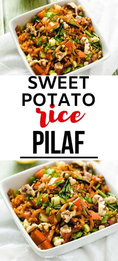 This Sweet Potato Rice Recipe is quick to make and even quicker to disappear. Loaded with flavor and packed with nutrition, this is a recipe you will turn to again and again. With sweet potatoes, red pepper, shallots, and chives you can't go wrong! This is one both adults and children love!  This is a great vegan side. #wendypolisi #glutenfree #glutenfreerecipes #healthyglutenfree #healthyrecipes #healthyfood Rice Recipes, Gluten Free Recipes, Healthy Recipes, Sweet Potato Rice, Vegan Side Dishes, Red Peppers, Potatoes, Nutrition, Stuffed Peppers