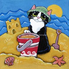 'Beach Holiday' by Lisa Marie Robinson I Love Cats, Cool Cats, All Animals Photos, Animal Doodles, Frida Art, Cat Cards, Cat Drawing, Whimsical Art, Beautiful Cats