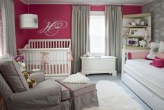 raspberry gray nursery (girl)  Wallpaper on accent wall, trundle bed and corner bookshelf...cozy