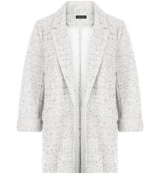 Grey Fleck Knitted Double Pocket Blazer  | New Look