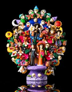 DAY OF THE DEAD CATRINA CLAY TREE OF LIFE  MEXICAN FOLK ART COLLECTION PIECE TL2