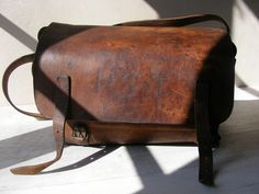 Authentic French Vintage Postman Leather Bag,PTT.. $198.00, via Etsy.