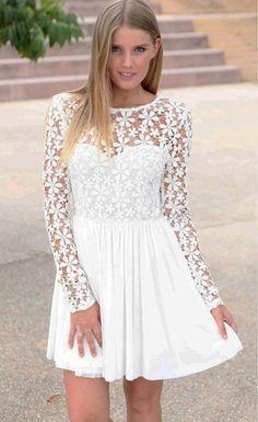 Innocent White Embroidered Princess Skater Dress $30.99