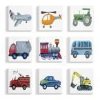 """Stupell Industries 12 in. x 12 in. """"Plane And Automobile Transportation Illustrations"""" by Terezie Rice Canvas Wall Art Multi-Colored Transportation Nursery, Nursery Art, Canvas Wall Art, Plane, Mickey Mouse, Automobile, Rice, Kids Rugs, Illustrations"""