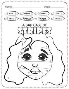 """A Bad Case of STRIPES - ActivitiesThese highly engaging David Shannon - author of """"A Bad Case of Stripes"""" themed activities are sure to be a hit with your young learners. Includes:- Color by Numbers- Draw and Write favorite part of the book- Favorite food Reading Resources, Math Resources, Book Activities, Sequencing Activities, Preschool Books, Bad Case Of Stripes, Mo Willems, Library Lessons, Math Lessons"""