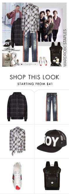 """""""steal their style"""" by lizart ❤ liked on Polyvore featuring Love Quotes Scarves, BOY London, Karl Lagerfeld, Gucci, Givenchy, men's fashion and menswear"""