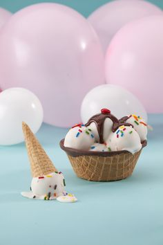 It's all Cake. Cake Balls to be  Ice cream cones homemade and cake balls that look like ice cream.
