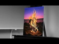 Painting a Camp Fire at Sunset with Acrylics - Paint with Ryan