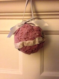 Up cycled sweater for baby's first Christmas ornament