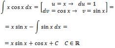resolvemos la integral de xCOS(x) por partes