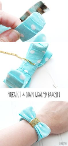 How to Make a Polkadot and Chain Wrapped Bracelet - this is so cute and easy to make!