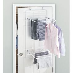 mDesign Clothes Rack for Hanging - Clothes Airer with Plenty of Space for Laundry - Space-Saving Clothes Airer for Laundry Room & Household Room - White/Grey Laundry Room Drying Rack, Drying Rack Laundry, Clothes Drying Racks, Laundry Room Storage, Clothes Storage, Laundry Baskets, Drying Room, Diy Clothes Airer, Home Organization