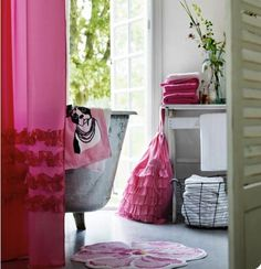 Love the colour scheme, frills on the shower curtain and the french doors