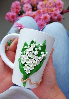 Polymer Clay Kunst, Fimo Clay, Polymer Clay Projects, Polymer Clay Creations, Polymer Clay Jewelry, Cold Porcelain Flowers, Porcelain Clay, Clay Cup, Cute Clay