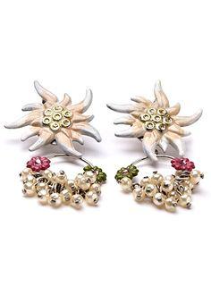 Ohrringe mit Edelweiß und Perlen  Schmuck   Lola Paltinger