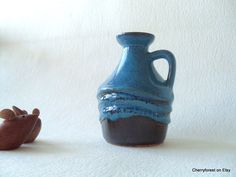 Strehla 999 vase, bottle / pitcher vase in a mixed blue glaze and sculpted surface, Mid Century Modern East German Art Pottery by Cherryforest on Etsy
