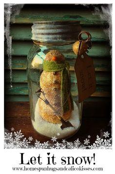 Primitive Canned Snowman ... Let it snow! by Homespun Hugs and Calico Kisses Primitives