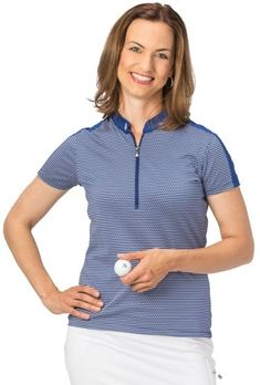 Need new golf apparel? Nancy Lopez  takes pride in offering women's golf clothing for all shapes and sizes. Buy this  Blue Twilight /White Nancy Lopez Ladies & Plus Size FLEX Short Sleeve Golf Shirt today from Lori's Golf Shoppe!