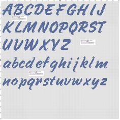 Handwriting style italic X-stitch alphabets chart Cross Stitch Alphabet Patterns, Wedding Cross Stitch Patterns, Alphabet Charts, Cross Stitch Letters, Letter Patterns, Cross Stitch Baby, Alpha Patterns, Crochet Stitches Patterns, Cross Stitching