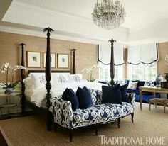 Color palette & couch @ end of bed. A navy-and-tan palette wraps this master bedroom in sophisticated comfort - Traditional Home® / Photo: Werner Straube / Design: Megan Winters Dream Bedroom, Home Bedroom, Bedroom Ideas, Tan Bedroom Walls, Navy Bedrooms, Tan Walls, Home Interior, Interior Design, Interior Decorating