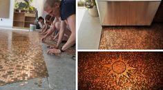 diy umenie podlaha vytvorena z minci kreativita 3