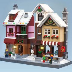 Lego MOC Winter Village Bakery and Toy Shop by Super-Junk - Genevieve Terry Lego Christmas Village, Lego Winter Village, Noel Christmas, Christmas Decor, Christmas Ideas, Lego Minecraft, Minecraft Houses, Minecraft Skins, Lego Lego