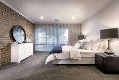 #bedroom #masterbedroom #mastersuite #featurewall #brickwall #internalbrick #roundmirror