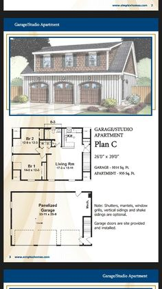 4 car garage with loft plan no 3068 1 by behm design for Prefab garage with loft apartment