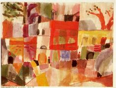 'Red and Yellow Houses in Tunis' by Paul Klee (1879-1940, Switzerland)