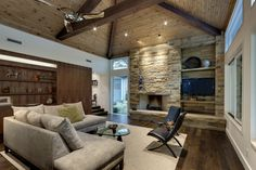 rock fireplace and tv wall