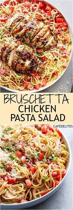 Bruschetta Chicken Pasta Salad Recipe via Cafe Delites - This is a must make for any occasion in minutes! Filled with Italian seasoned grilled chicken garlic and parmesan cheese! Easy Pasta Salad Recipes - The BEST Yummy Barbecue Side Dishes Potluck Fav New Recipes, Cooking Recipes, Healthy Recipes, Recipies, Family Recipes, Recipes For Pasta, Popular Recipes, Pasta Ideas, Italian Dinner Recipes