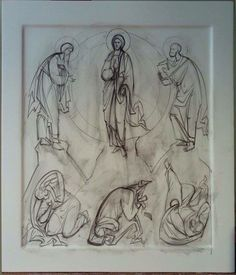 Преоблажение The Transfiguration, Art Icon, Orthodox Icons, Painting Process, Christian Art, Line Drawing, Icon Design, Coloring Pages, Sketches