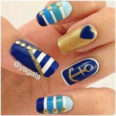 Nautical stripe blue white and gold nailart