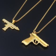 Buy Fashion Jewelry Golden Gun Supreme crystal Jewelry Men Hip Hop Gold Chain Necklace Pendant men and women gift Accessories Best Jewelry Stores, Jewelry Shop, Fashion Jewelry, Jewelry Accessories, Style Fashion, Mens Fashion, Fashion Trends, Mens Gold Jewelry, Mens Silver Rings