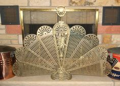 Antique/Vintage Oriental Figural Brass Fireplace Screen ...