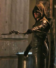 Pin for Later: Here Are Set Pictures of the Flash/Arrow Crossover!  Stephen Amell suited up as Oliver Queen's alter ego, Arrow.