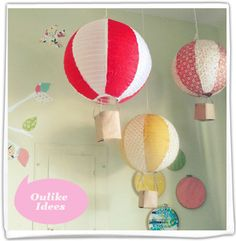The Joyeful Journey: {diy} paper lantern hot air balloons. Makes me want to throw a party around the hot air balloon theme. Balloon Lanterns, Paper Lanterns, Balloon Decorations, White Lanterns, Balloon Ideas, Diy Hot Air Balloons, 21 Balloons, Papier Diy, Cool Diy Projects